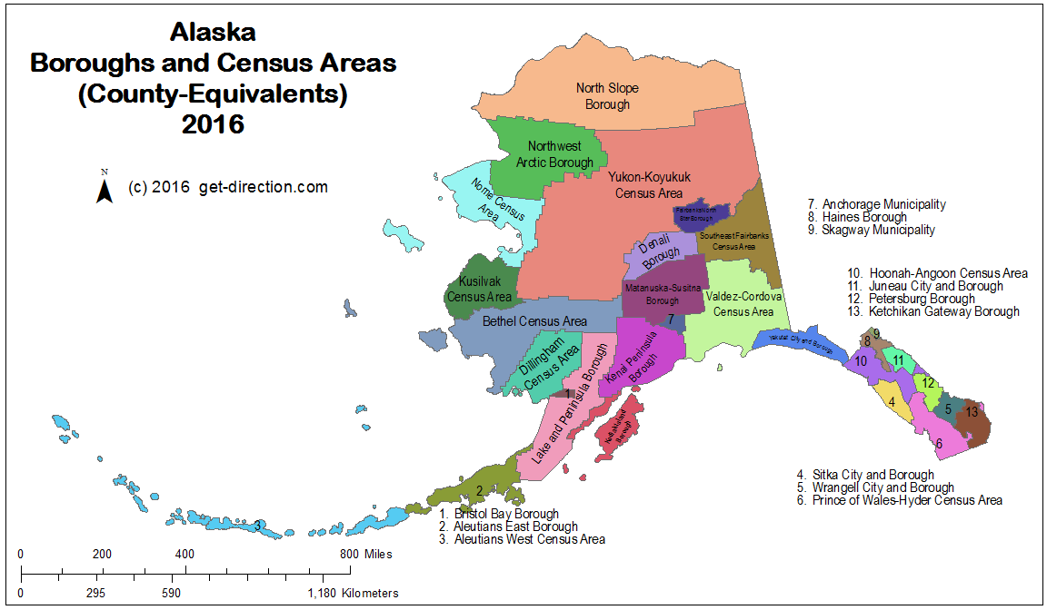 Map of Alaska Boroughs and Census Areas Countyequivalents